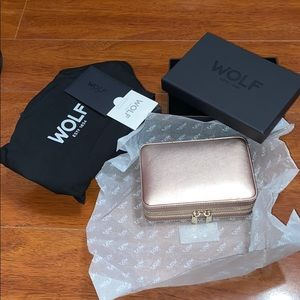WOLF Palermo Zip Case Rose Gold Jewelry Travel Box